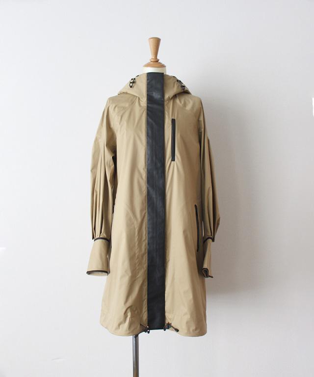 mame kurogouchi Water Repellent Nylon Hooded Coat BEIGE