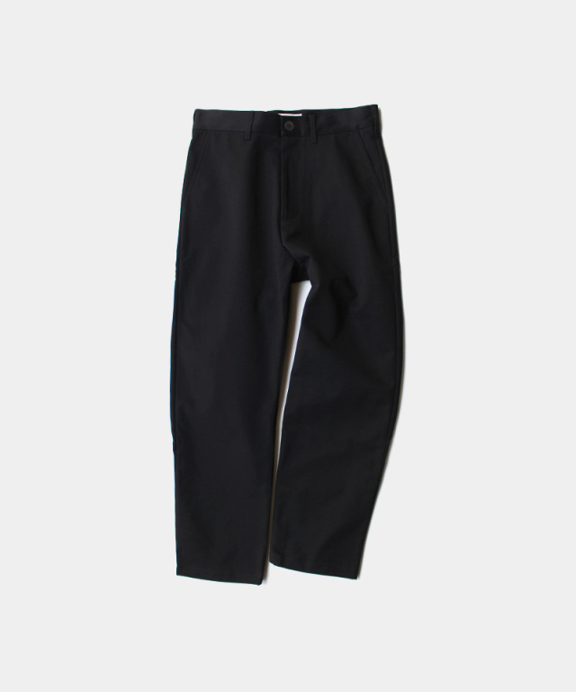 STUDIO NICHOLSON PEACHED COTTON TWILL FLAT FRONT TAPERED PANT BLACK