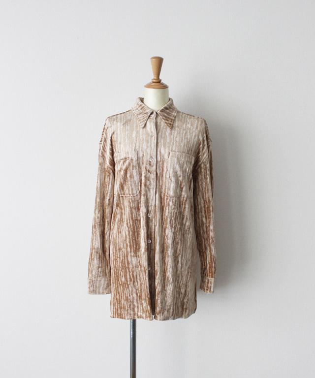 ERiKO KATORi leaf vien standard shirt PINK??BEG