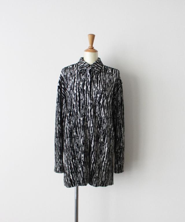 ERiKO KATORi leaf vien standard shirt WHT??BLK