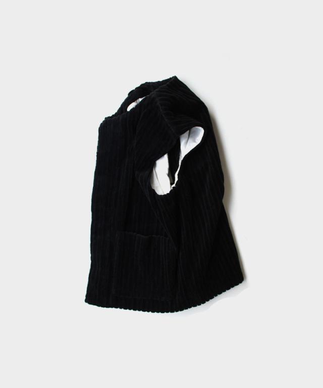 MATSUFUJI Wide Corduroy Vest BLACK