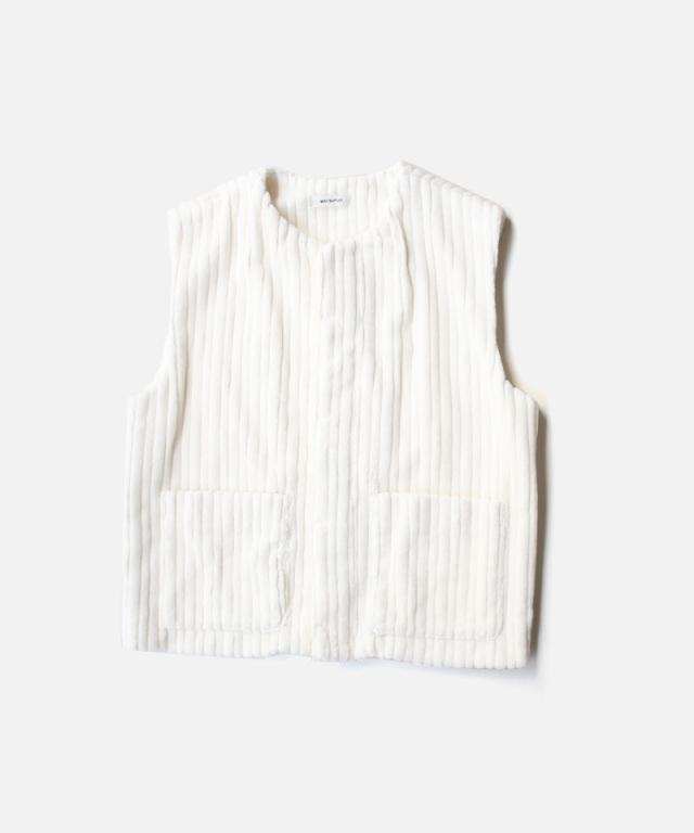 MATSUFUJI Wide Corduroy Vest WHITE