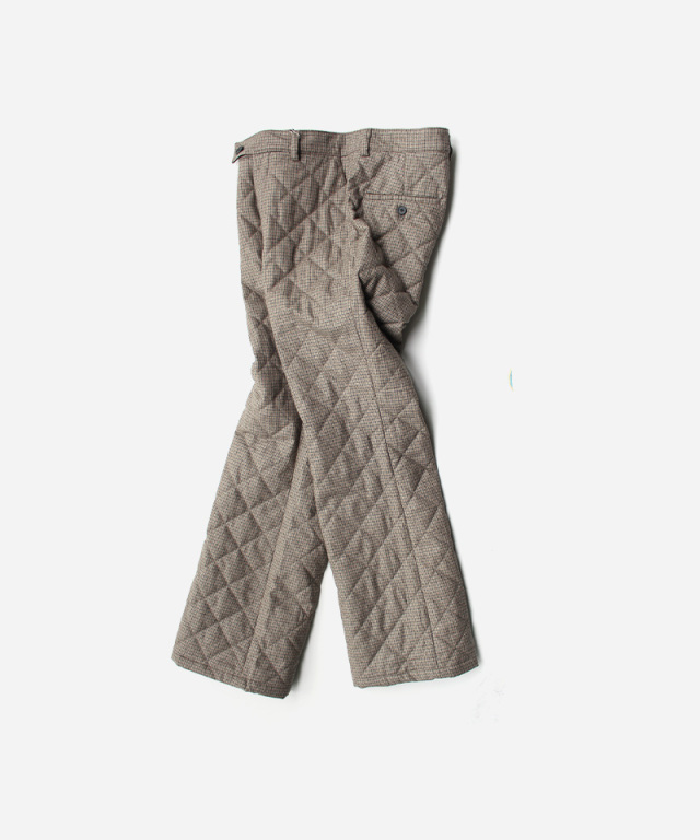 MATSUFUJI Wool Quilted Semi-flare Trousers BROWN CHECK