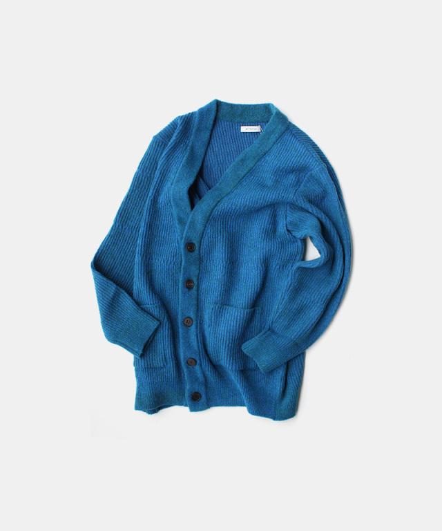 MATSUFUJI Melange Kint long Cardigan BLUE
