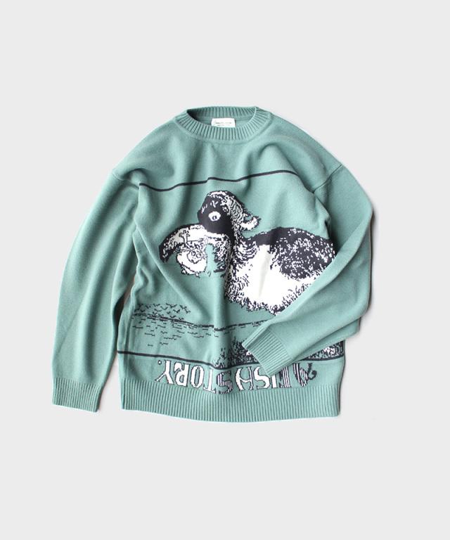 beautiful people trick art intarsia pullover mint