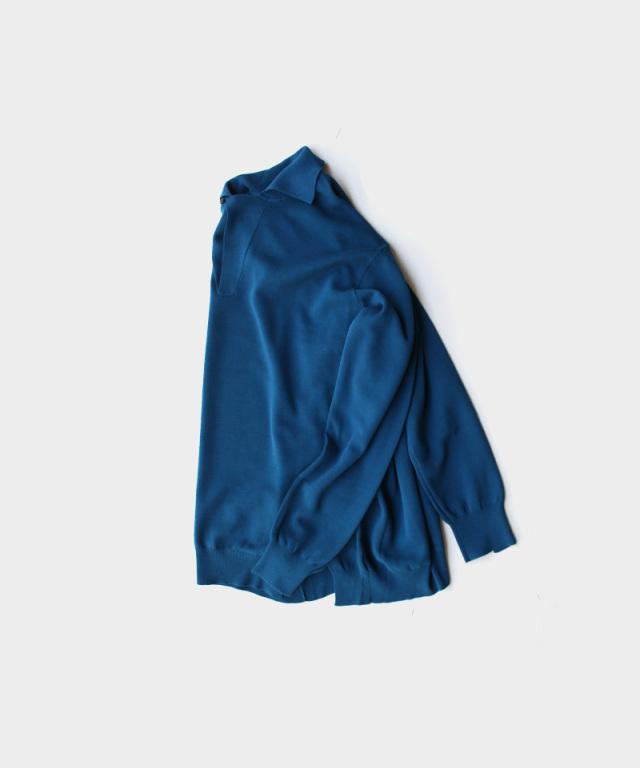 saby MILAN RIB OPEN COLLAR KNIT-16G COMPACT YARN- SMALT BLUE