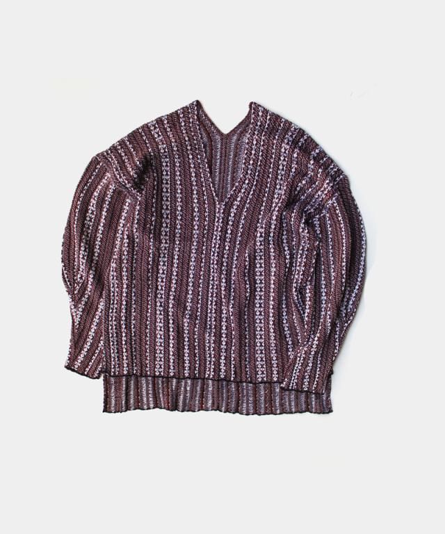 mame kurogouchi V Neck Jaquard Knitted Pullover BROWN