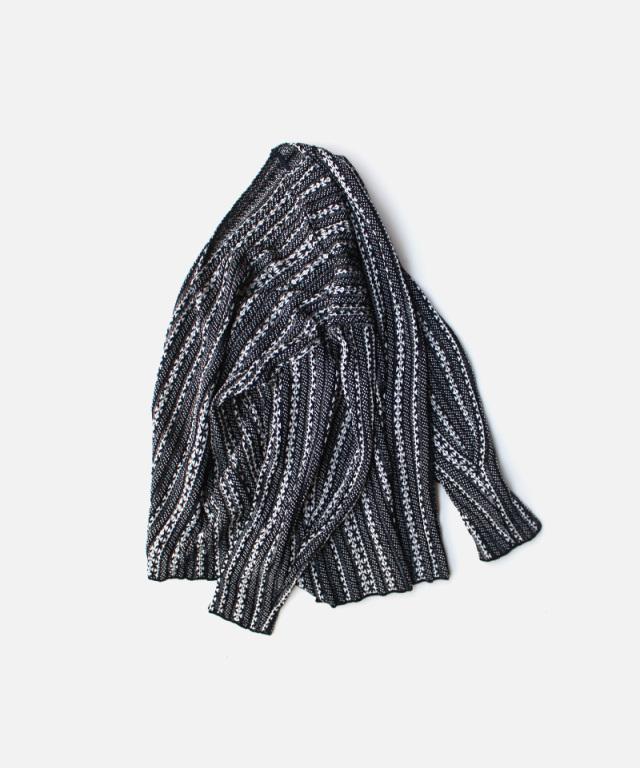 mame kurogouchi V Neck Jaquard Knitted Pullover NAVY