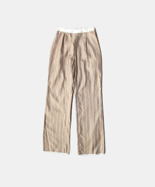 mame kurogouchi Floral Stripe Silk Jacquard Trousers BEIGE