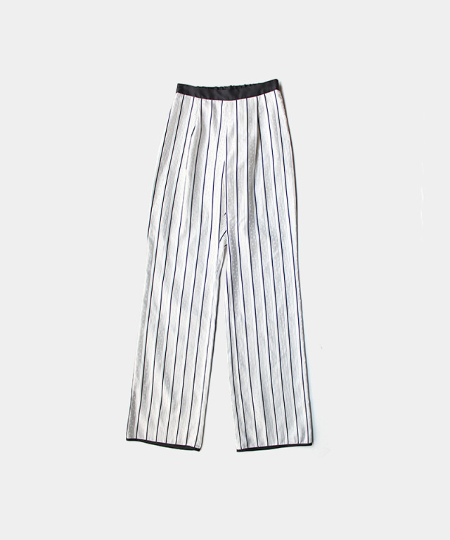 mame kurogouchi Floral Stripe Silk Jacquard Trousers WHITE