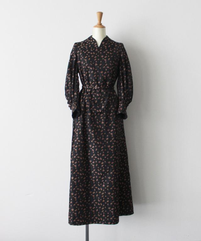 mame kurogouchi Osmanthus Motif Jacquard Dress BLACK