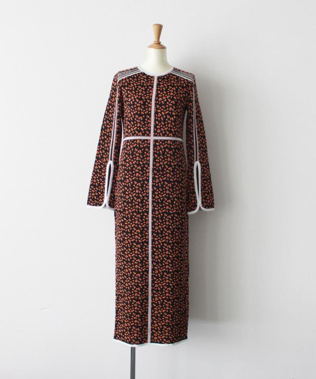 mame kurogouchi Osmanthus Motif Jacquard Knitted Dress BLACK