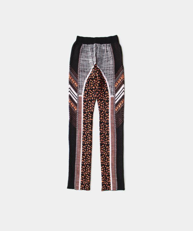 mame kurogouchi Osmanthus Motif Jacquard Knitted Trousers BLACK