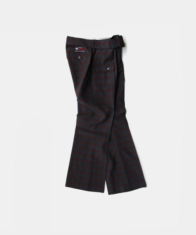 DAIRIKU Bush Detail Wool Flare Slacks Check
