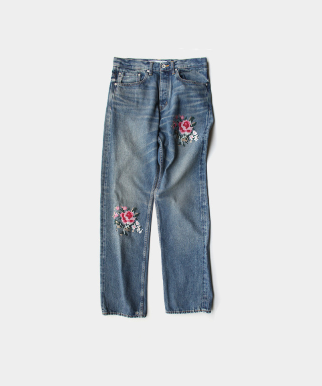 "DAIRIKU """"Flower"""" Cross Embroidery Slim Denim Pants INDIGO"