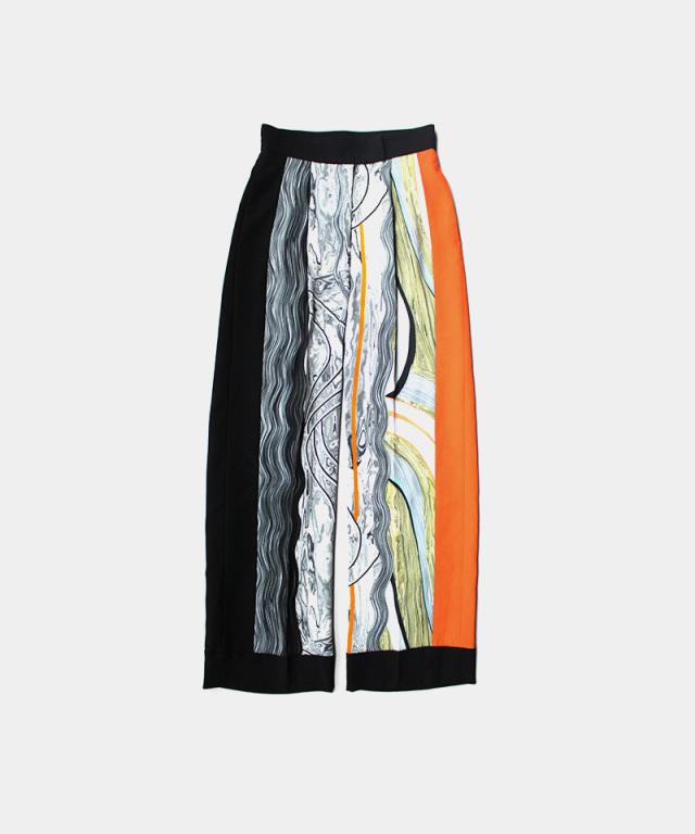 mame kurogouchi Marble Print Center Creased Trousers WHITE
