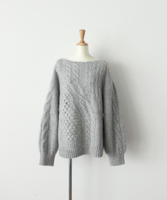 mame kurogouchi Multi Pattern Cable Knitted Sweater GREY