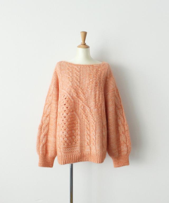 mame kurogouchi Multi Pattern Cable Knitted Sweater ORANGE