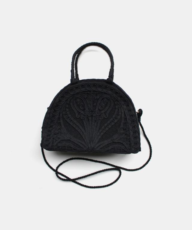 mame kurogouchi Embroidery Demi Lune Handbag BLACK