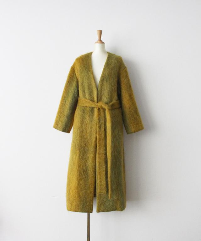 ERiKO KATORi flow dye kid mohair shaggy coat MUS??GRN