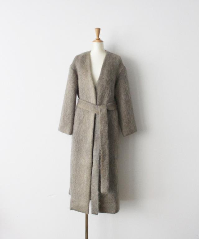 ERiKO KATORi flow dye kid mohair shaggy coat GRY??BEG