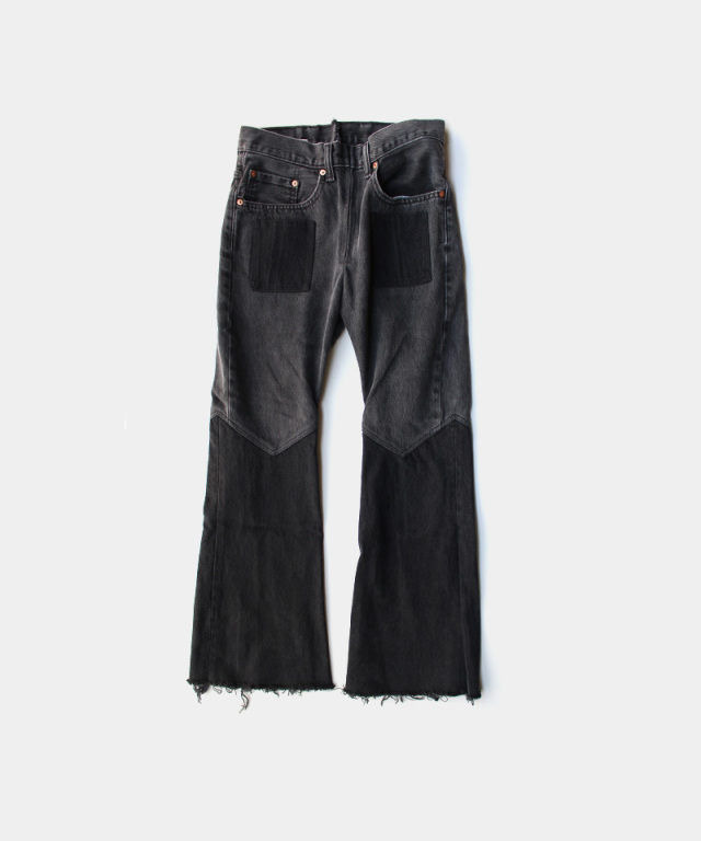 77circa flare pants black-A