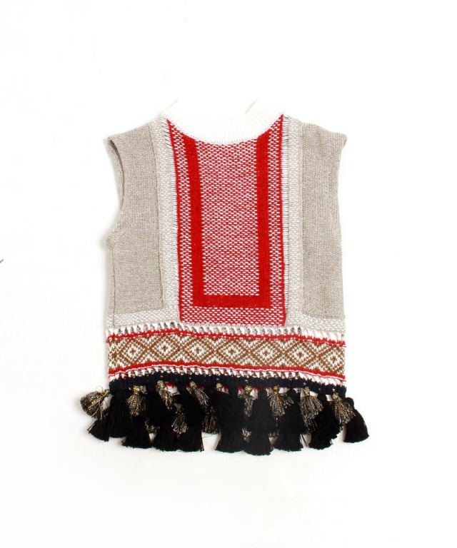 mame Ethnic Pattern Sleeveless Fringe Knit