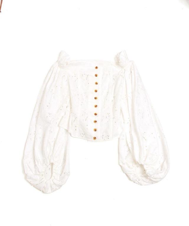 mame Floral Cutwork Lace Off-Shoulder Shirt