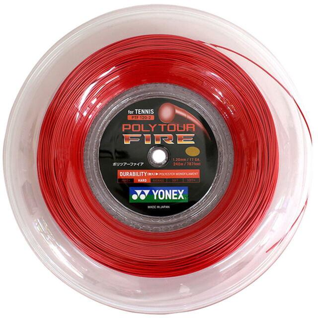 【送料無料】YONEXテニスストリング POLYTOUR FIRE125ロール ゲージ:1.25mm カラー:ブラック  品番:PTF125-2