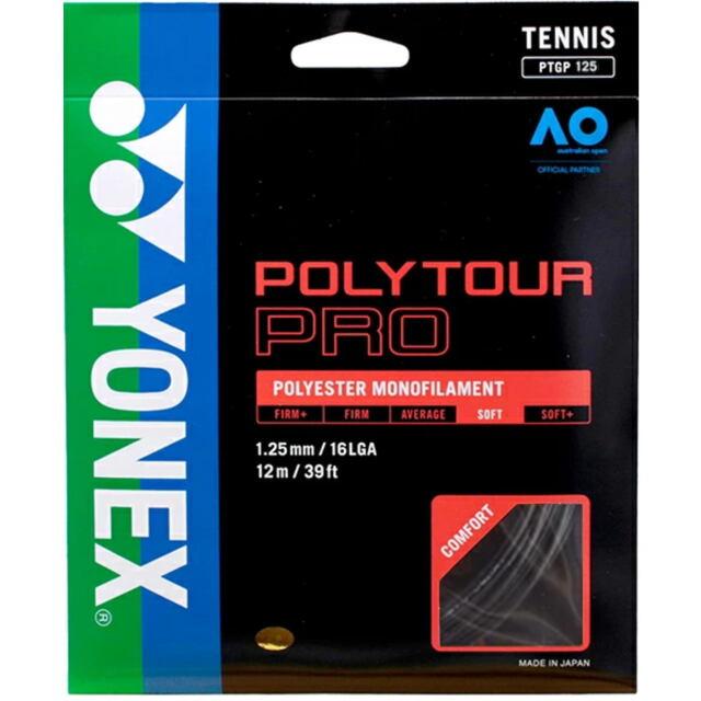 YONEXテニスストリング POLYTOUR PRO125 ゲージ:1.25mm カラー:グラファイト 品番: PTGP125