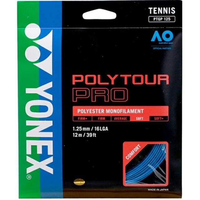 YONEXテニスストリング POLYTOUR PRO125 ゲージ:1.25mm カラー:ブルー 品番: PTGP125