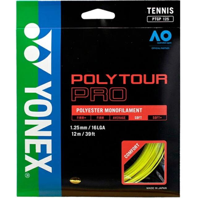 YONEXテニスストリング POLYTOUR PRO125 ゲージ:1.25mm カラー:フラッシュイエロー 品番: PTGP125