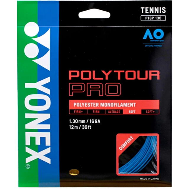 YONEXテニスストリング POLYTOUR PRO130 ゲージ:1.30mm カラー:ブルー 品番: PTGP130