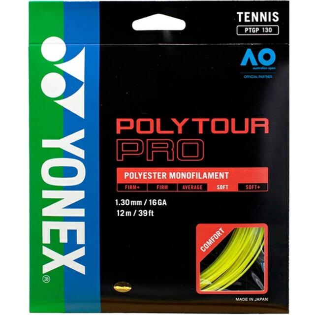 YONEXテニスストリング POLYTOUR PRO130 ゲージ:1.30mm カラー:フラッシュイエロー 品番: PTGP130
