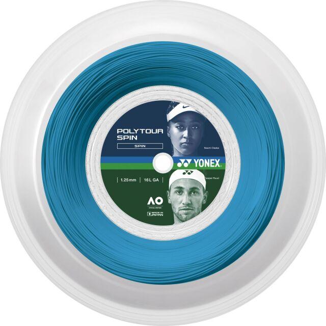 [送料無料]YONEXテニスストリング POLYTOUR SPIN120ロール ゲージ:1.20mm カラー:コバルトブルー 品番:PTS120-2