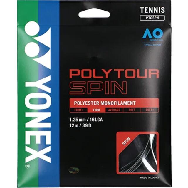 YONEXテニスストリング POLYTOUR SPIN125 ゲージ1.25m カラー:ブラック 品番:PTGSPN