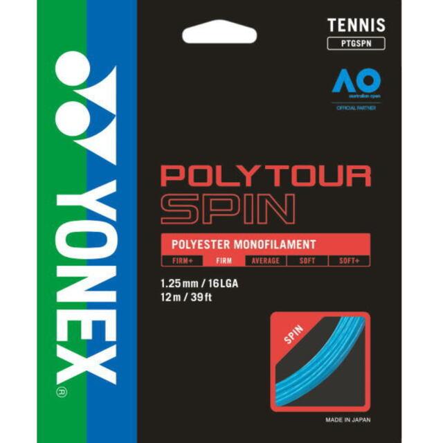 YONEXテニスストリング POLYTOUR SPIN125 ゲージ1.25m カラー:コバルトブルー 品番:PTGSPN