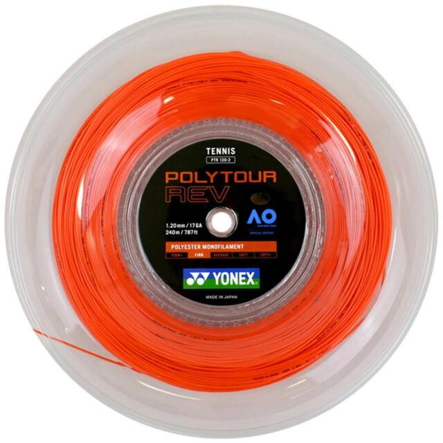 【送料無料】YONEXテニスストリング  POLYTOUR REV120   240mロール    品番: PTR120-2 カラー:ブライトオレンジ