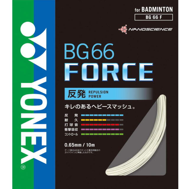 ヨネックス バドミントンストリング BG66フォース  BG66 FORCE (BG66F)