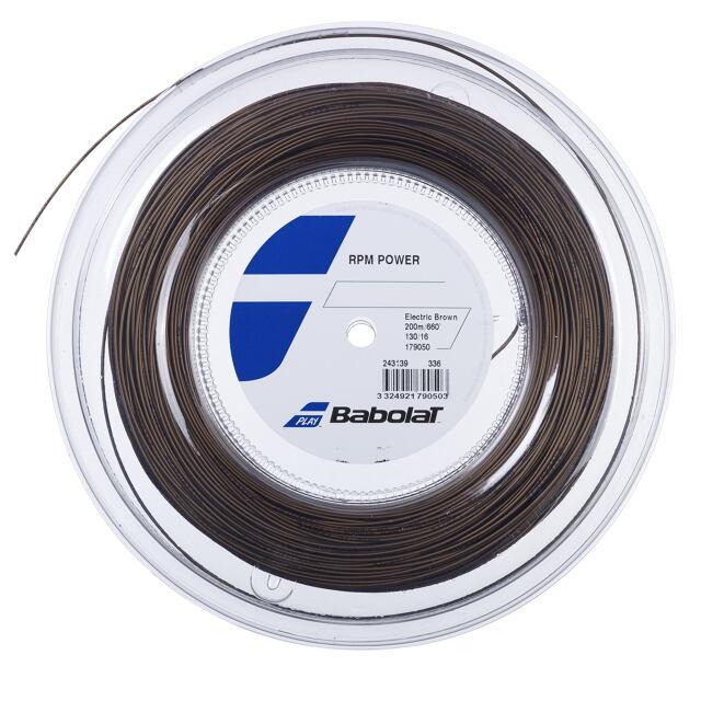 【送料無料】バボラ  テニスストリング  ポリエステル       RPM パワー 200mロール     ゲージ:1.30mm   カラー:エレクトリックブラウン    品番:243139