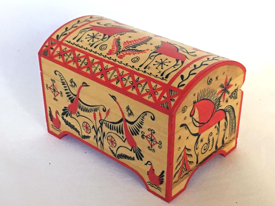 メゼーニ文様の宝箱(11×7)☆ロシア雑貨☆伝統柄の小箱