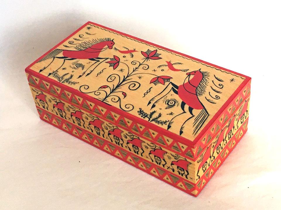 メゼーニ文様の長箱(14×7)☆ロシア雑貨☆伝統柄の小箱