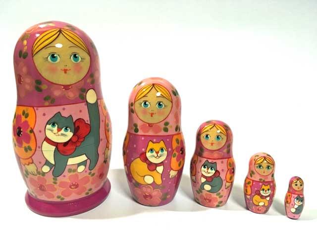 猫のいるロシアの家PK★エレナ工房18cm☆マトリョーシカ5ピース