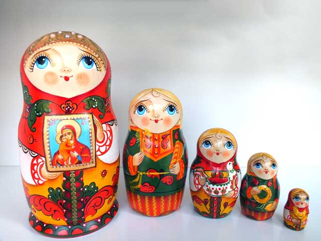 聖家族☆5ピースマトリョーシカ☆O.Guseva★ロシア雑貨