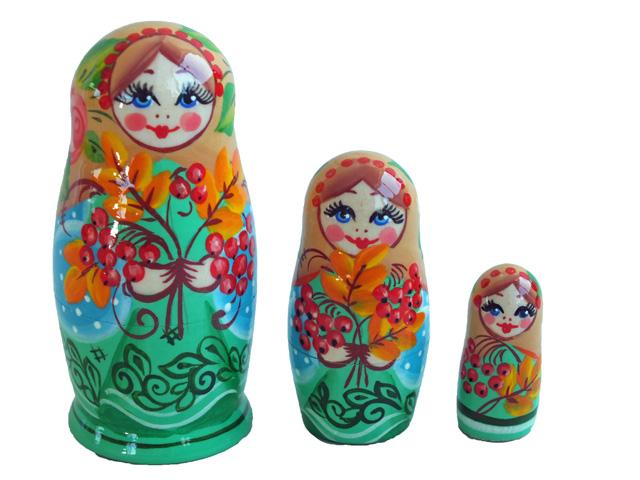 ななかまど★セミョーノフマトリョーシカ☆3ピース【ロシア雑貨のカチューシャ】