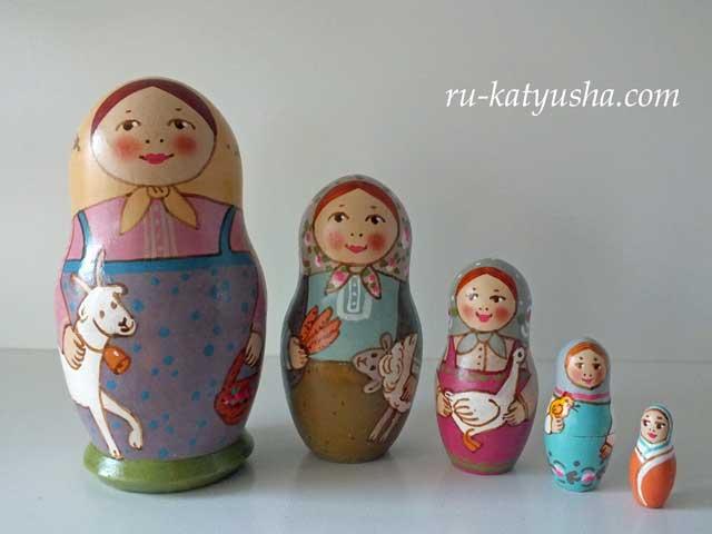 牧場の思い出☆Tドゥビニチさんのマトリョーシカ5P★ロシア雑貨