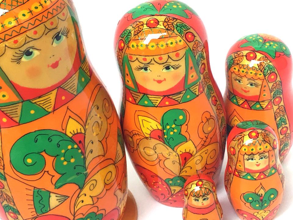 アルハンゲリスク(オレンジ)★エレナ工房18cm☆マトリョーシカ5ピース