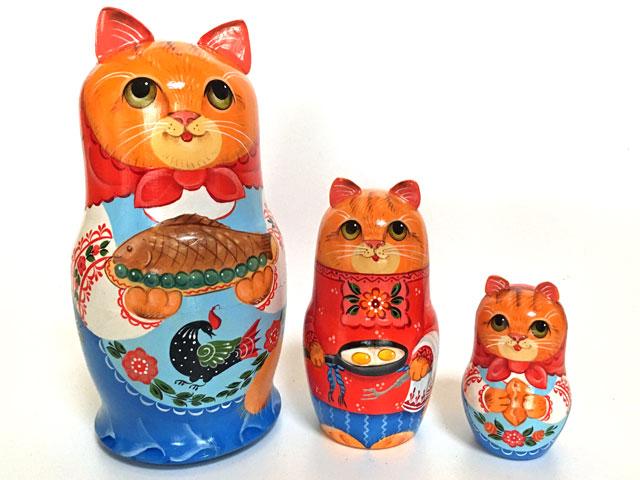 グルメ猫~ガラジェッツ柄☆3ピースマトリョーシカ★Guseva☆グーセヴァ