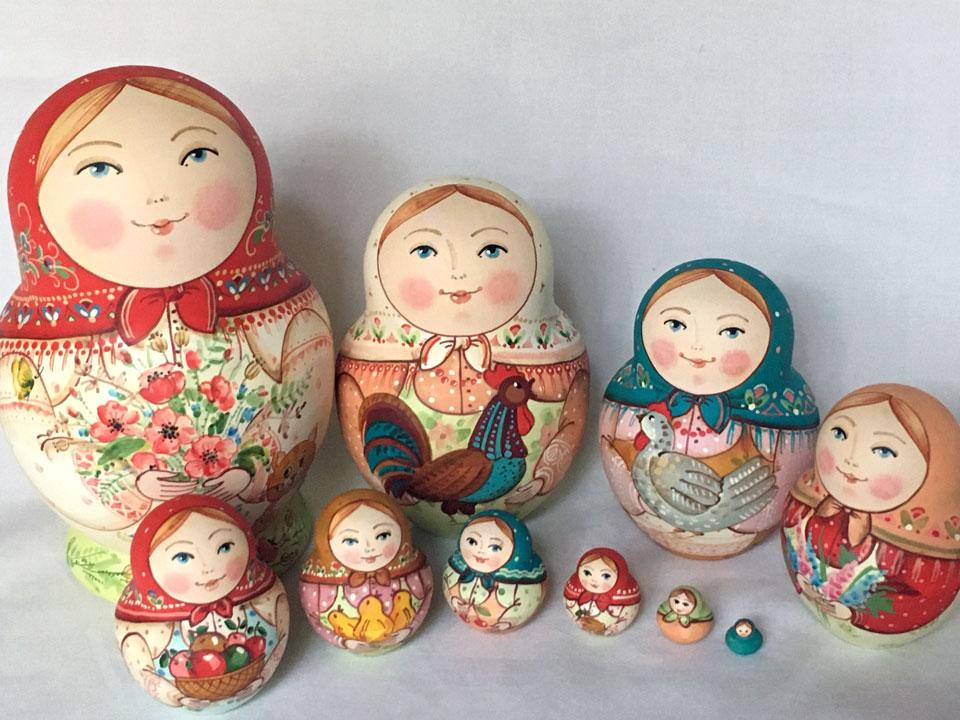 春の庭☆10ピースマトリョーシカ☆イヴァンツォヴァ★ロシア雑貨