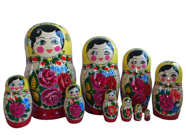 マーシェンカ★セミョーノフ☆10ピースマトリョーシカ【ロシア雑貨のカチューシャ】